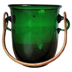 Deep Green Ice Bucket with Rattan Handle by Holmegaard, Denmark, 1960's