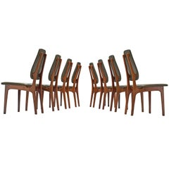 Deep Green Leather and Rosewood Set of Eight Chairs by Vestergaard-Jensen