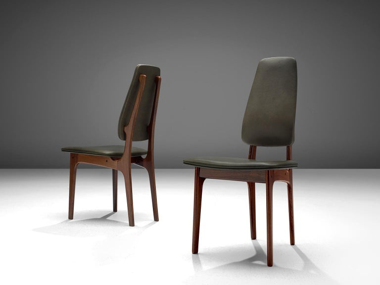 Scandinavian Deep Green Leather and Rosewood Set of Ten Chairs by Vestergaard Jensen For Sale