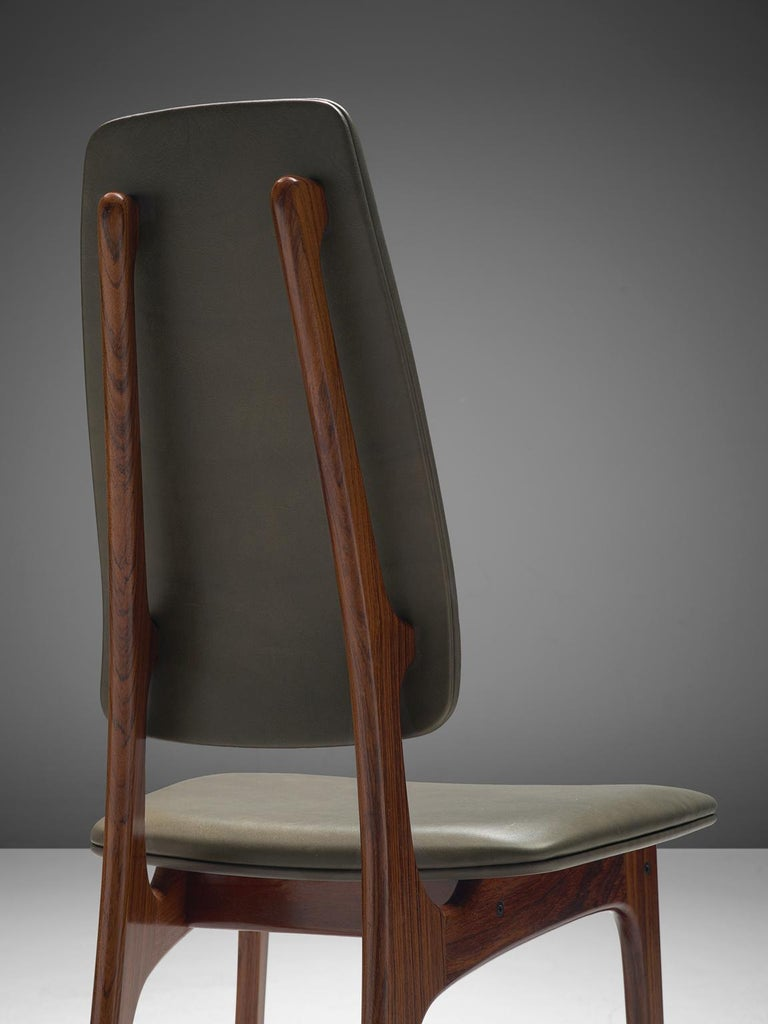 Mid-20th Century Deep Green Leather and Rosewood Set of Ten Chairs by Vestergaard Jensen For Sale