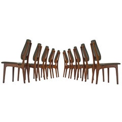 Deep Green Leather and Rosewood Set of Ten Chairs by Vestergaard Jensen