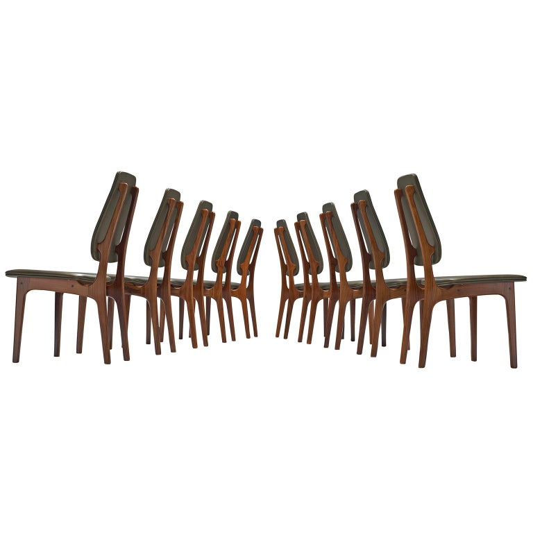 Deep Green Leather and Rosewood Set of Ten Chairs by Vestergaard Jensen For Sale