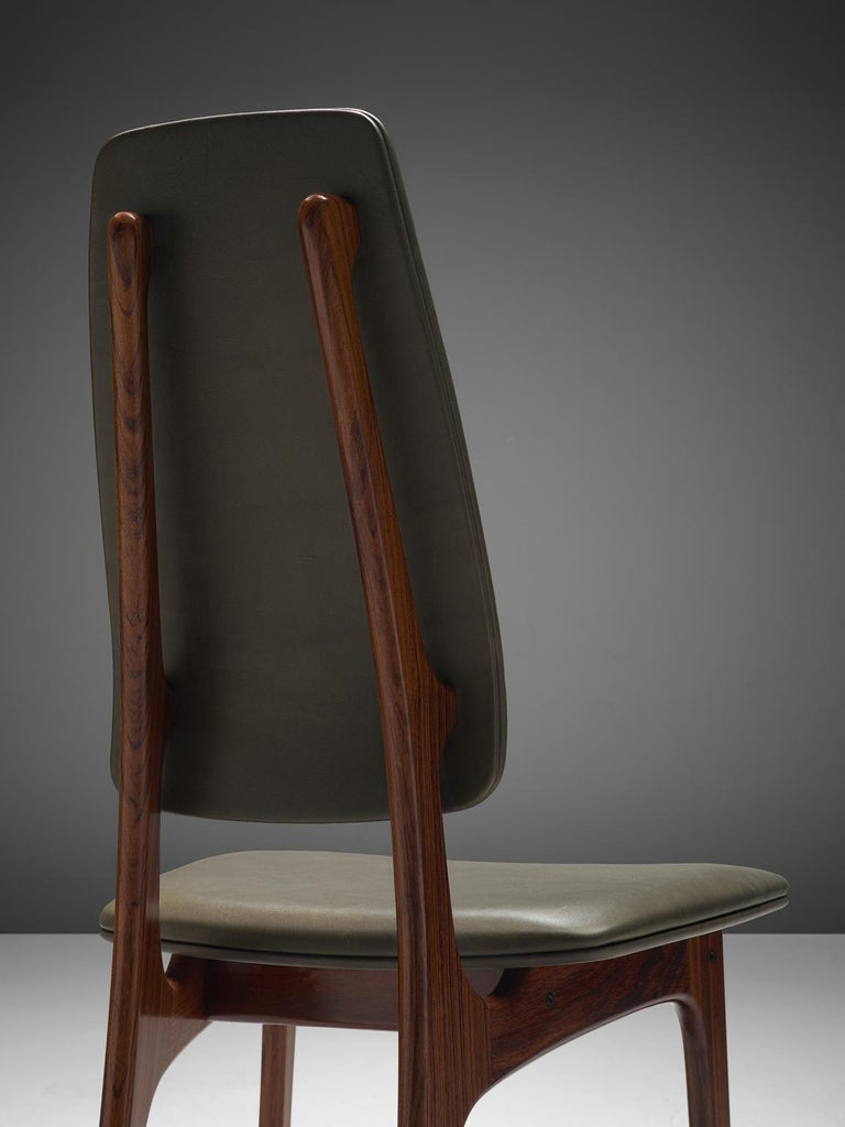 Mid-20th Century Deep Green Leather and Rosewood Set of Ten Chairs For Sale