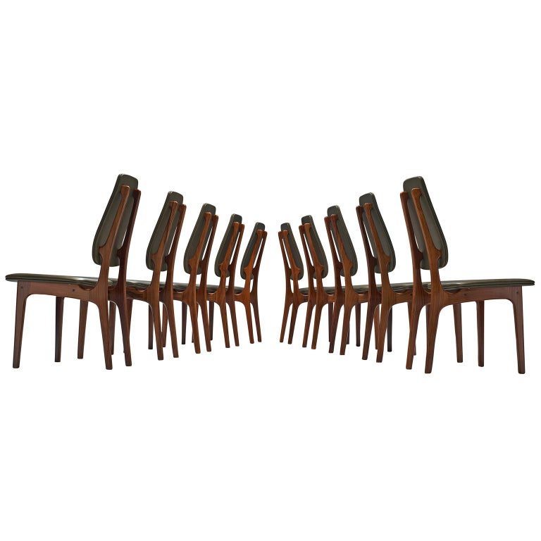 Deep Green Leather and Rosewood Set of Ten Chairs For Sale