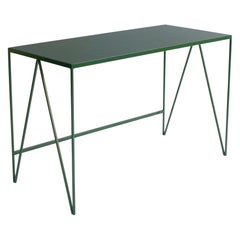 Deep Green Study Desk with Natural Linoleum Table Top, Customizable