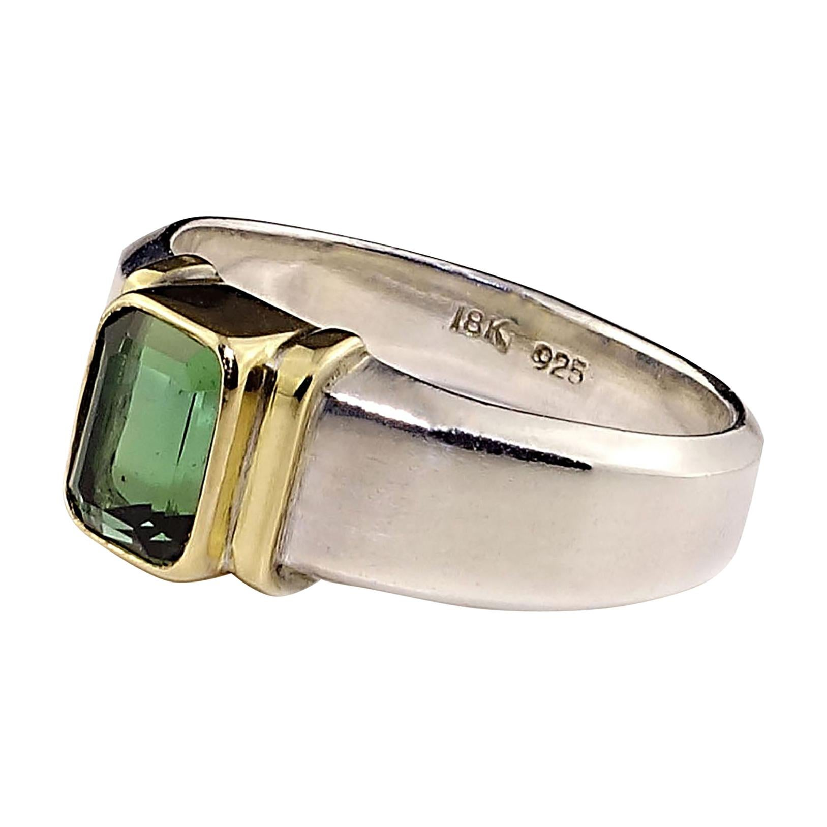 Deep Green Tourmaline in Sterling Silver Ring with 18 Karat Gold