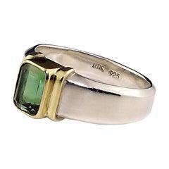 Gemjunky Deep Green Tourmaline in Sterling Silver Ring with 18 Karat Gold