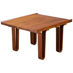Deep-Hued Walnut Pedestal Table or Plant Stand Bentwood Dunbar Widdicomb Style