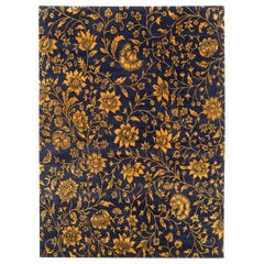 Deep Navy Blue and Gold Traditional Floral Rug