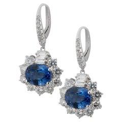 Olympus Art Certified Deep Ocean Blue Eyes Diamond Earrings