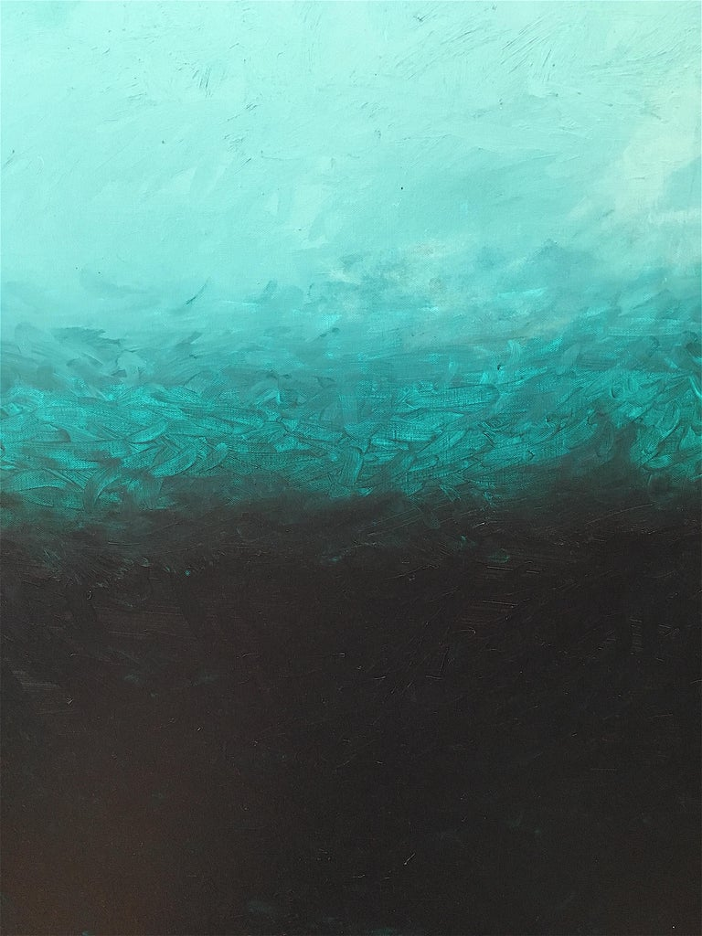 Evocative color-field abstract composition by contemporary American artist, Benjamin Casiano. Casiano is a lover of color and uses dramatic brushstrokes to bring color alive on his canvases, with great depth and visual impact, in a style that