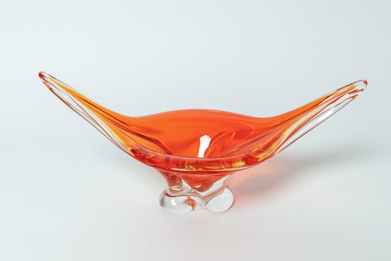 Deep orange and clear murano glass footed bowl.