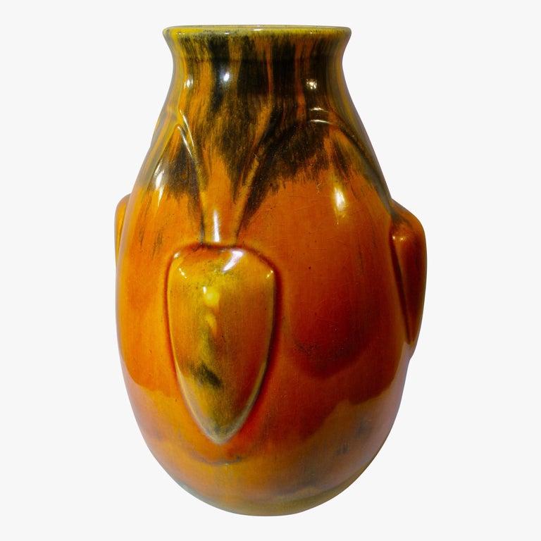 Glazed Deep Orange Art Deco French Ceramic Vase, 1930s For Sale