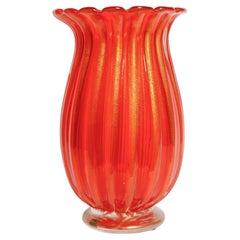 Deep Orange, Gold and Clear Fluted Vase, Signed