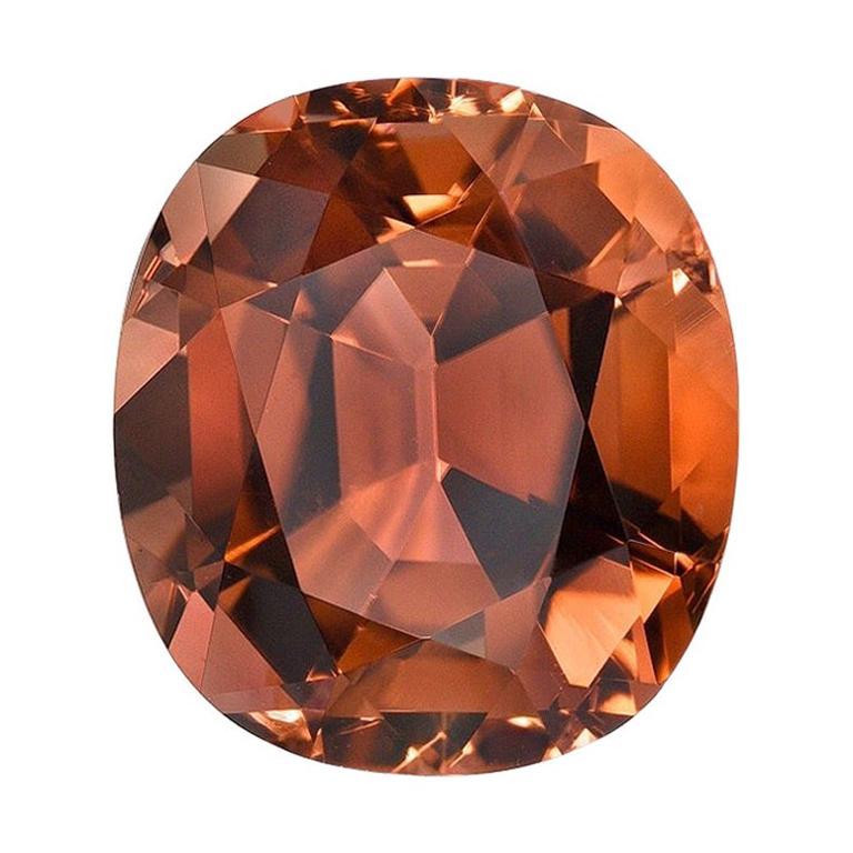 Deep Orange Tourmaline Ring Gem 5.23 Carat Cushion Loose Gemstone For Sale
