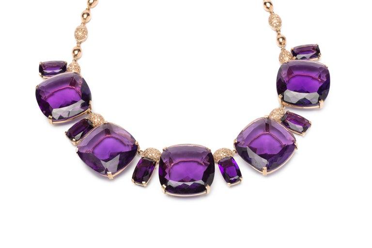 Deep Purple Amethyst Diamond Red Gold Necklace