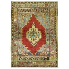 Deep Red Antique Turkish Oushak Scatter Rug