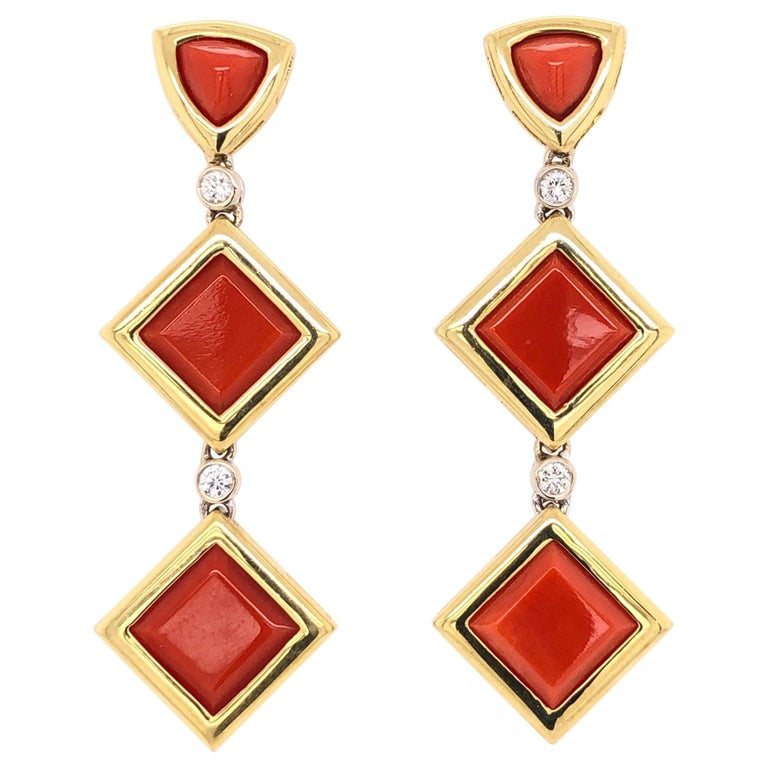Deep Red Coral and Diamond Dangle Earrings Estate Fine Jewelry For Sale