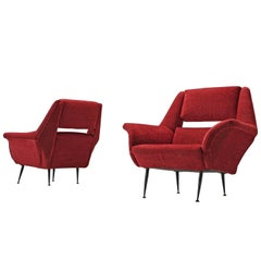 Deep Red Italian Club Chairs, circa 1960
