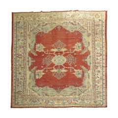Deep Red Large Square Oversize Antique Oushak Rug
