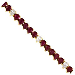 Deep Red Pear Shape Ruby Diamond 14K Rose Gold Tennis Line Eternity Bracelet