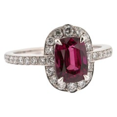 2.70 carat Deep Red Ruby and White Diamond Halo Ring