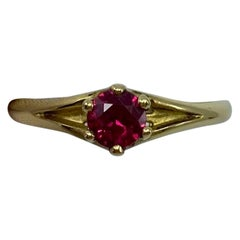Deep Red Ruby Round Diamond Cut 18 Karat Yellow Gold Solitaire Ring