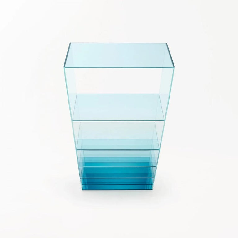 Modern Deep Sea Bookcase in Light Blue Transparent Glass, by Nendo from Glas Italia For Sale