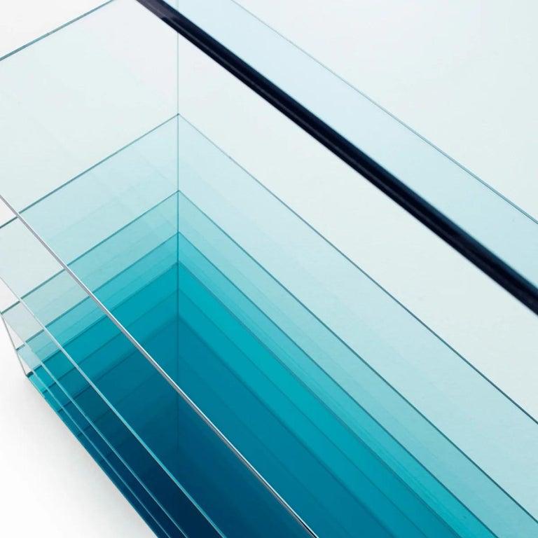 Italian Deep Sea Bookcase in Light Blue Transparent Glass, by Nendo from Glas Italia For Sale