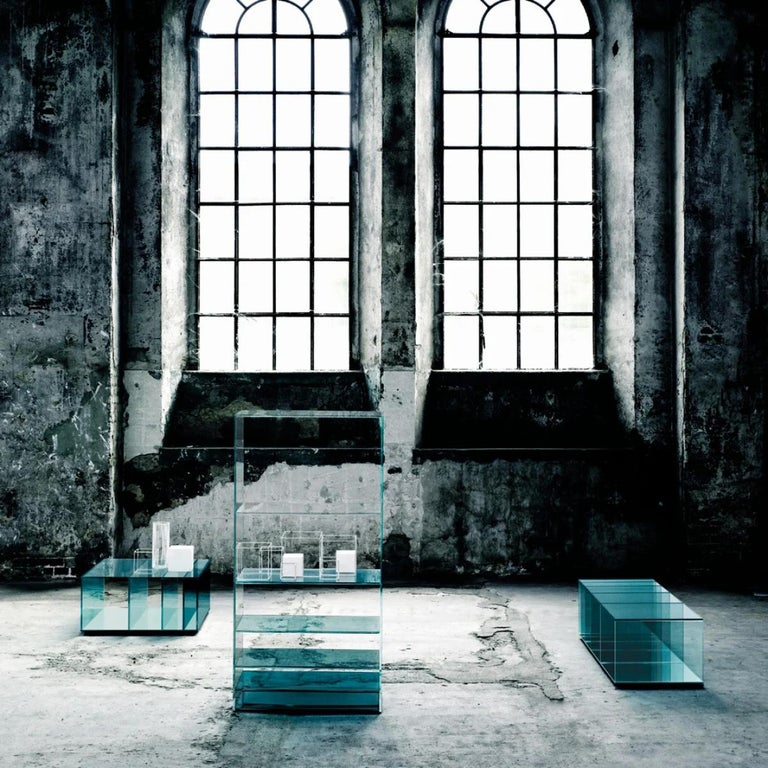 Contemporary Deep Sea Bookcase in Light Blue Transparent Glass, by Nendo from Glas Italia For Sale