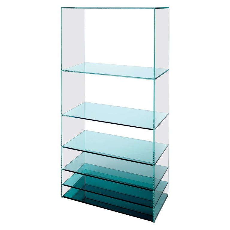 Deep Sea Bookcase in Light Blue Transparent Glass, by Nendo from Glas Italia For Sale