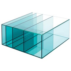 Deep Sea Small Low Table in Blue Transparent Glass, by Nendo from Glas Italia