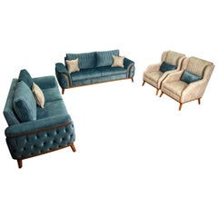 Deep Seated Velvet Living Room '4 Pieces', 20th Century
