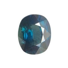 Deep Teal Blue Sapphire 1.55 Carat Cushion Cut Rare Natural Gem