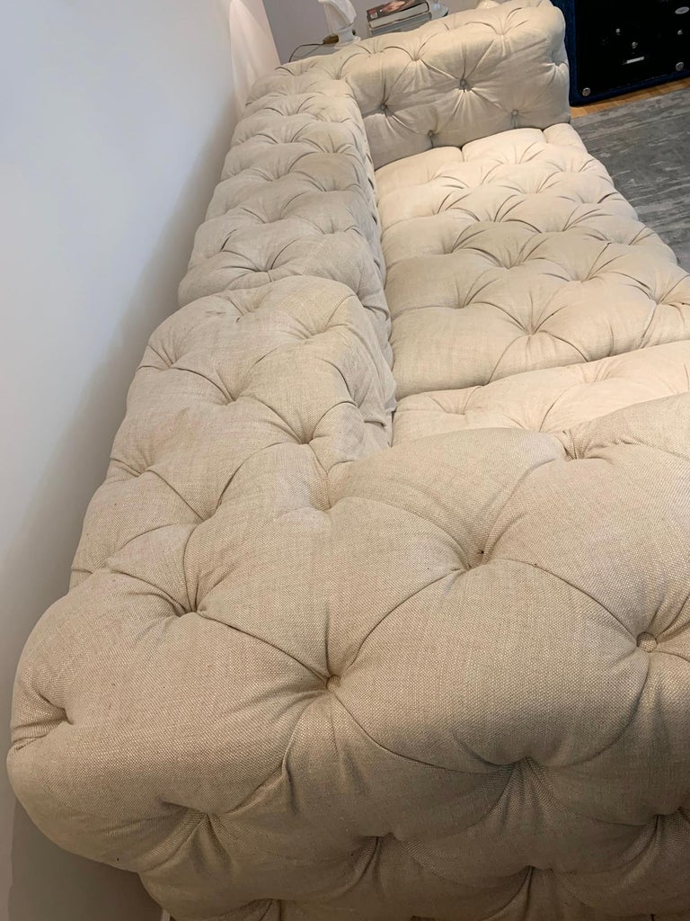 Deep Tufted 2 Piece Sectional Sofa Upholstered in Cream Colored Linen Fabric For Sale 4