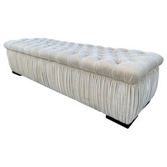 Deep Tufted Bench Upholstered in Cream Mohair