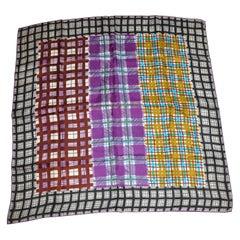 "Deep Violet Borders With Vivid ""Center"" Plum & Violet Plaid Silk Scarf"