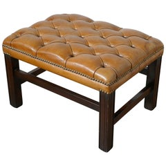 Deeply Buttoned Chesterfield Tan Leather Library Stool