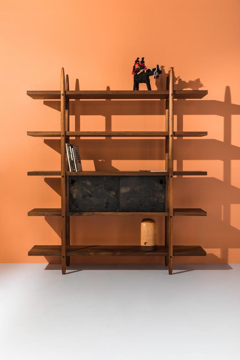 Deepstep Shelving, Ash, Walnut and Ebony Bookshelf with Fine Wood Detailing  For Sale 5