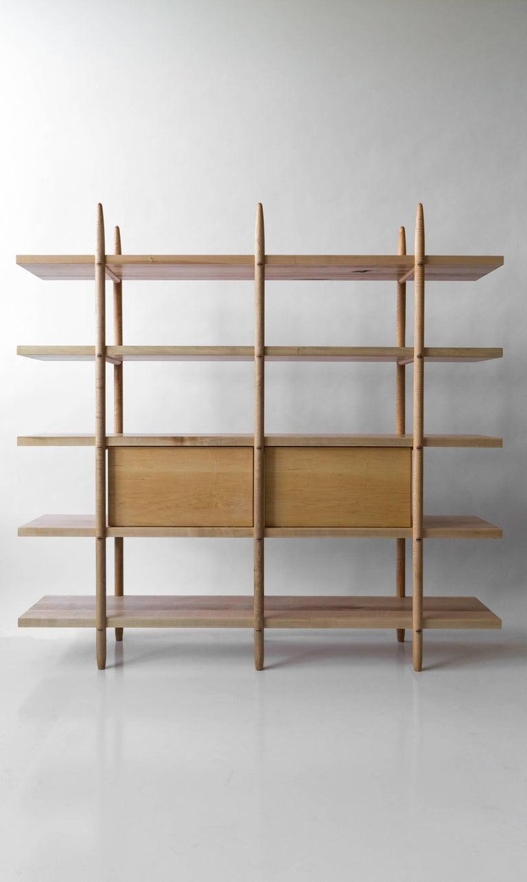 Deepstep Shelving, Ash, Walnut and Ebony Bookshelf with Fine Wood Detailing  For Sale 8