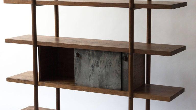 Deepstep Shelving, Ash, Walnut and Ebony Bookshelf with Fine Wood Detailing  For Sale 13
