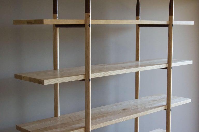 North American Deepstep Shelving, Ash, Walnut and Ebony Bookshelf with Fine Wood Detailing  For Sale