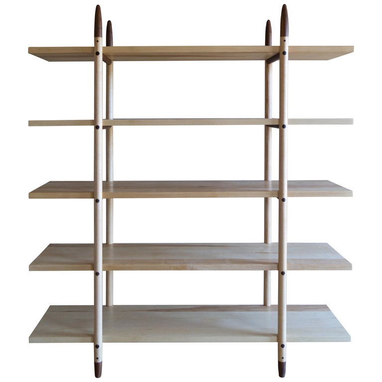 Deepstep Shelving, Ash, Walnut and Ebony Bookshelf with Fine Wood Detailing  For Sale