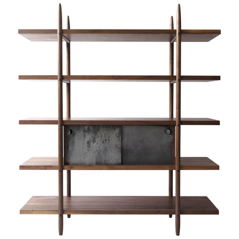 Deepstep Shelving, Maple, Walnut and Ebony Bookshelf with Fine Wood Detailing  For Sale 7