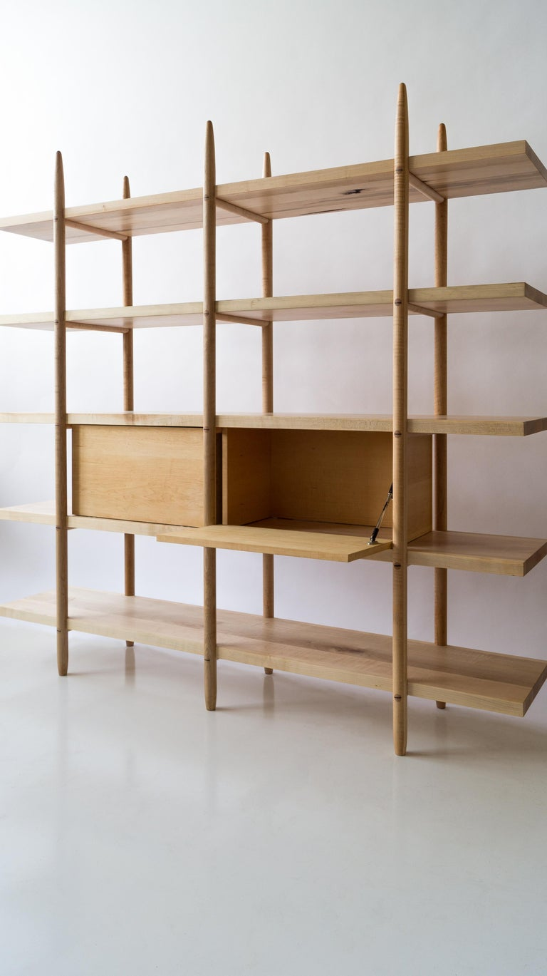 Hand-Crafted Deepstep Shelving, Maple, Walnut and Ebony Bookshelf with Fine Wood Detailing  For Sale