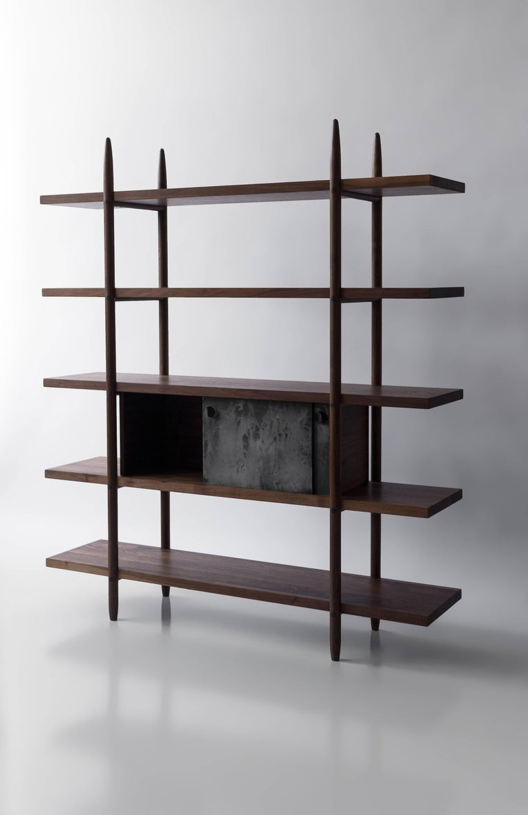 Deepstep Shelving, Maple, Walnut and Ebony Bookshelf with Fine Wood Detailing  For Sale 3