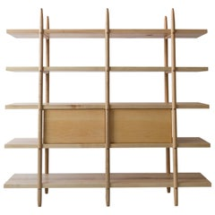 Deepstep Shelving, Maple, Walnut and Ebony Bookshelf with Fine Wood Detailing