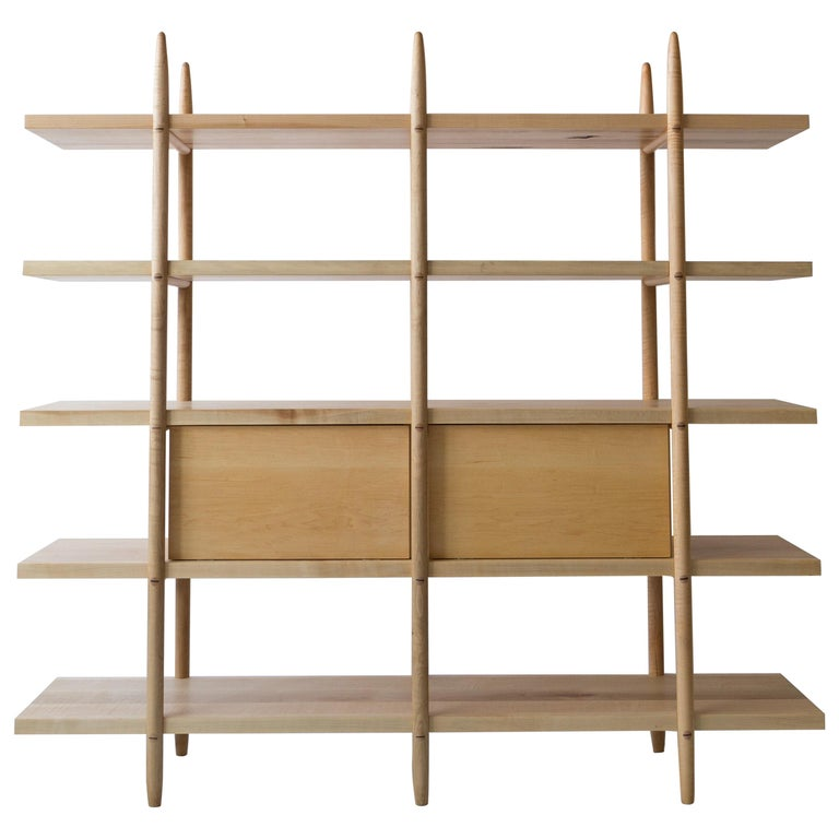 Deepstep Shelving, Maple, Walnut and Ebony Bookshelf with Fine Wood Detailing  For Sale