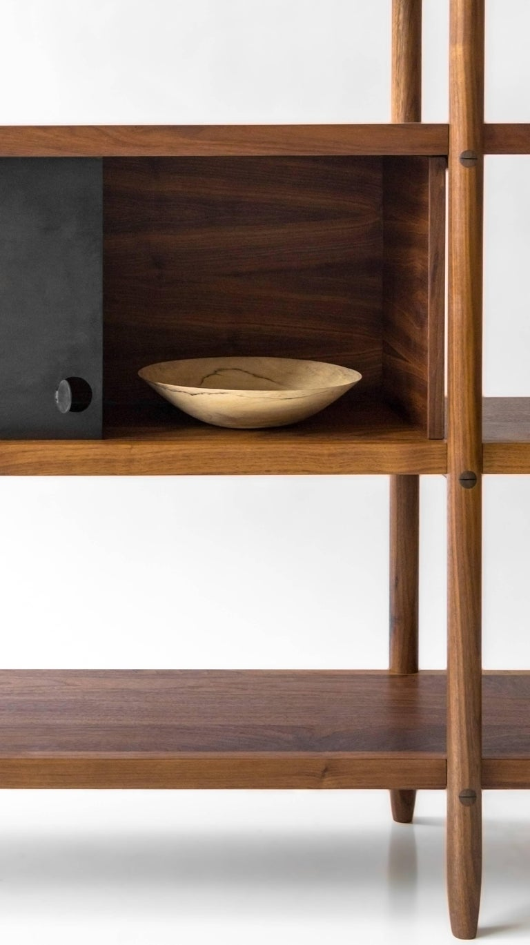 Contemporary Deepstep Shelving, Modular Storage with Fine Wood Detailing For Sale