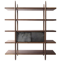 Deepstep Shelving, Walnut and Ebony Modular Storage with Fine Wood Detailing